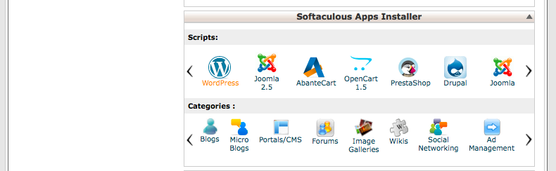 Cpanel Wordpress in Softaculous